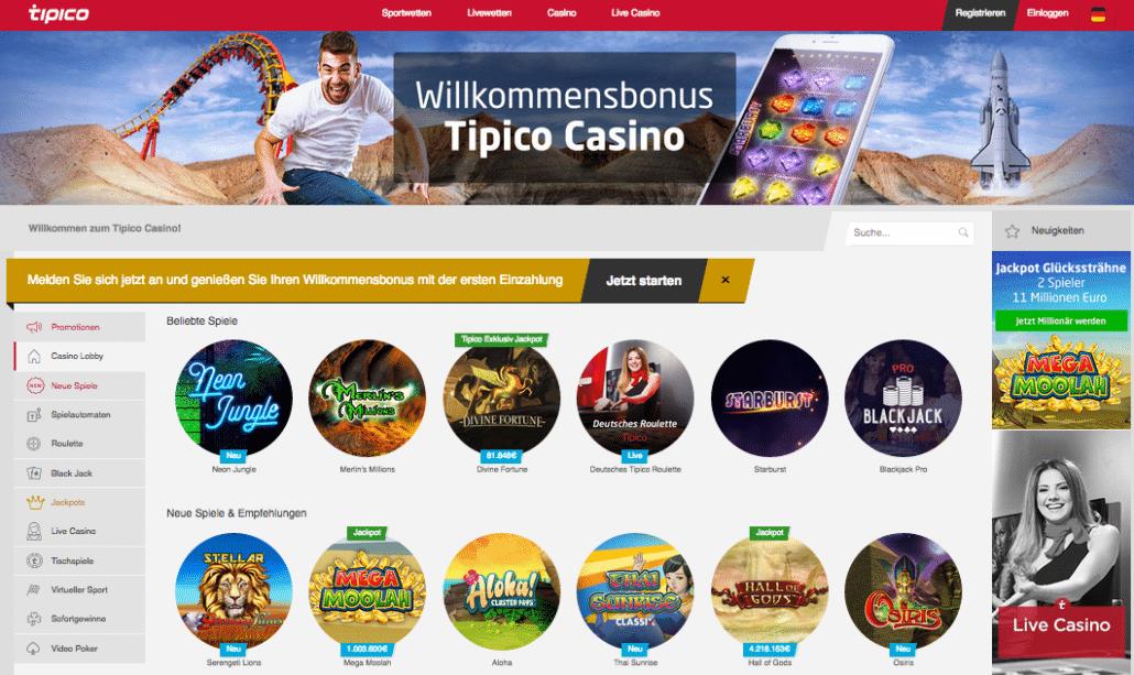 Das Tipico Casino überzeugt mit diversen Games und bietet auch einen beeindruckenden Live-Bereich
