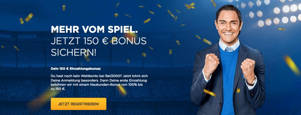 150 Euro erhalten Sie von Bet3000 wenn Sie eine erste Einzahlung in der selben Höhe vornehmen - durchaus lukrativ, wenngleich die Bonusbedingungen beachten werden müssen