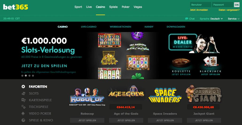 Längst ist Bet365 kein reiner Sportwettenanbieter mehr: Casino und Live-Casino bieten zusätzlichen Spielspaß