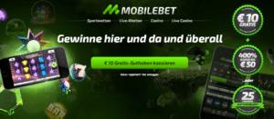 Der Willkommensbonus von Mobilbet beinhaltet nicht nur einen 400-Prozent-Bonus auf die erste Einzahlung, sondern auch eine No-Deposit-Option zu Beginn Ihrer Wetttätigkeit.